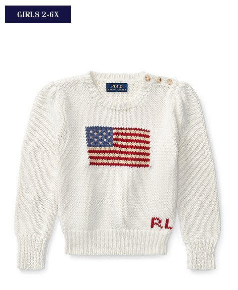 新作♪ 国内発送 Flag Cotton Crewneck Sweater girls 2~6X