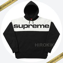 【17AW】Lサイズ★Supreme Blocked Hooded Sweatshirt Black 黒