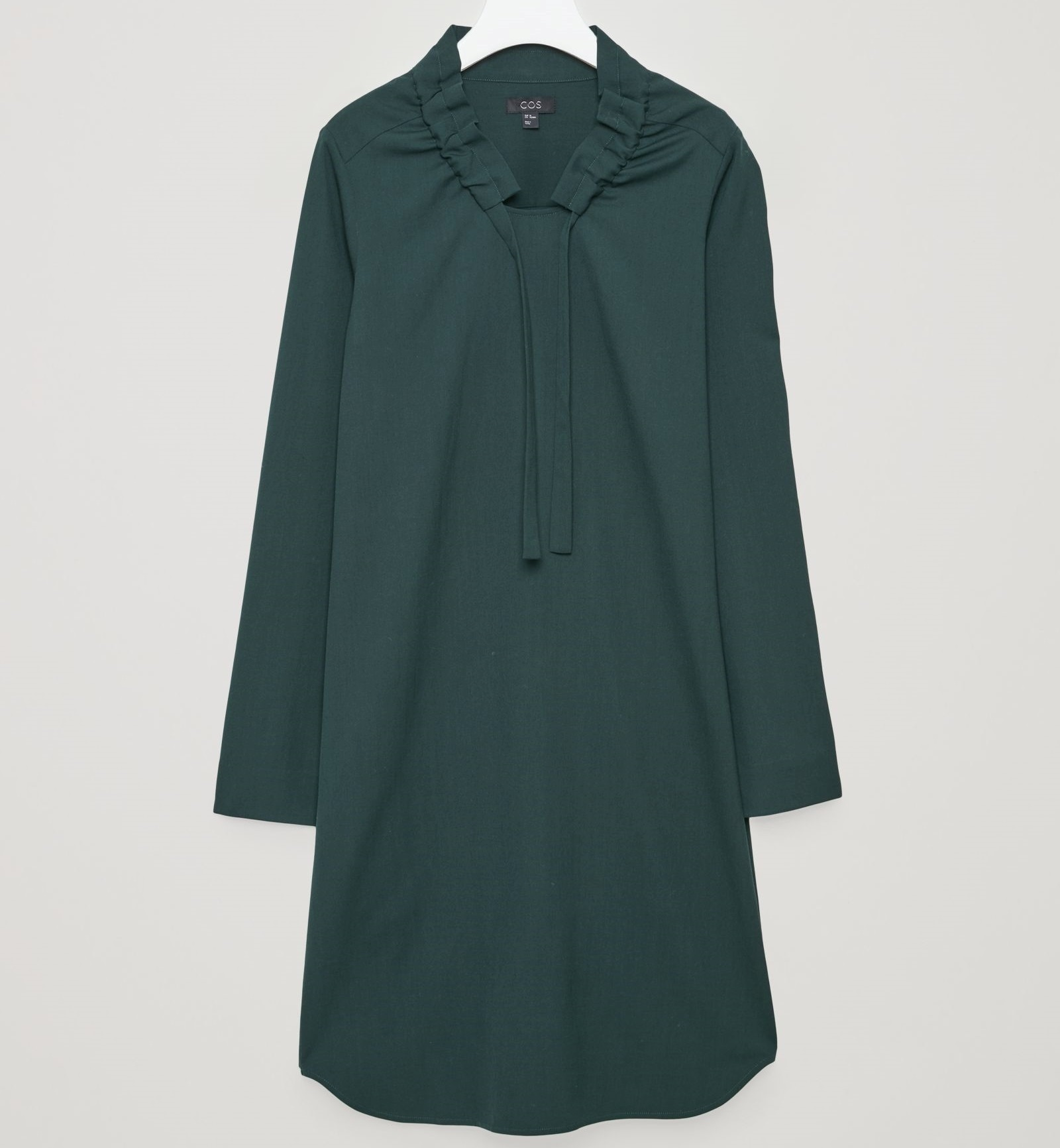 """""""COS""""GATHERED-NECK WOOL DRESS FORESTGREEN"""