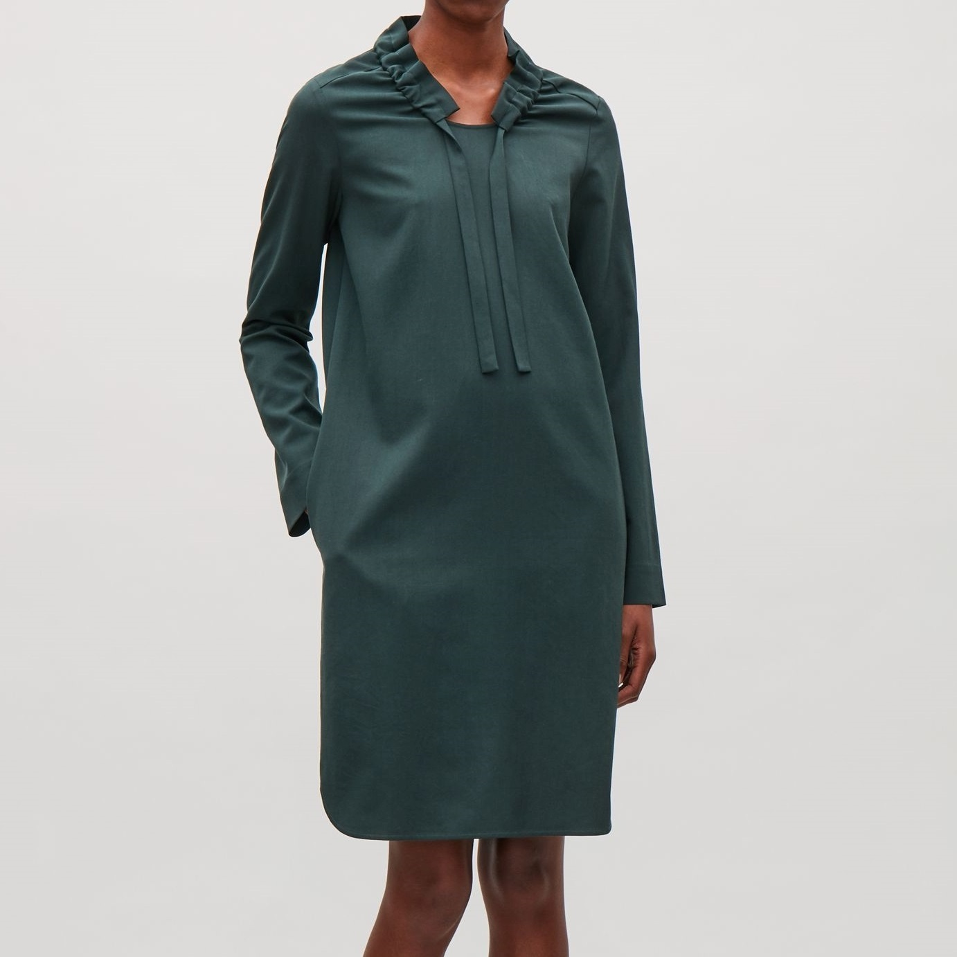"""COS""GATHERED-NECK WOOL DRESS FORESTGREEN"