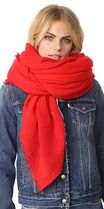ロゴ入り☆Tory Burch☆Solid Cashmere Scarf Acai Red