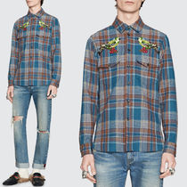 17-18AW WG264 CHECKED WOOL SHIRT WITH BIRD EMBROIDERY
