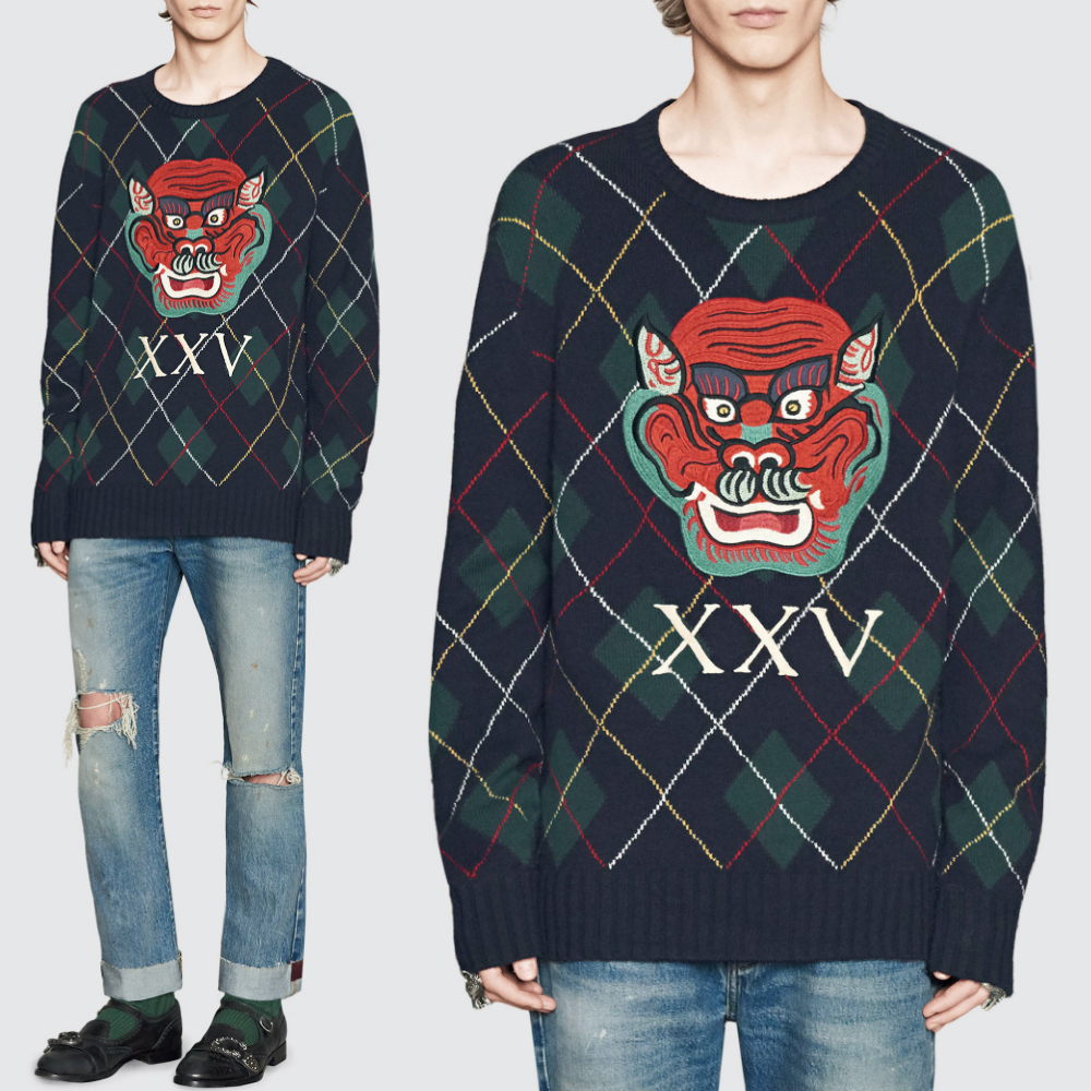 17-18AW WG266 ARGYLE SWEATER WITH MONSTER APPLIQUE