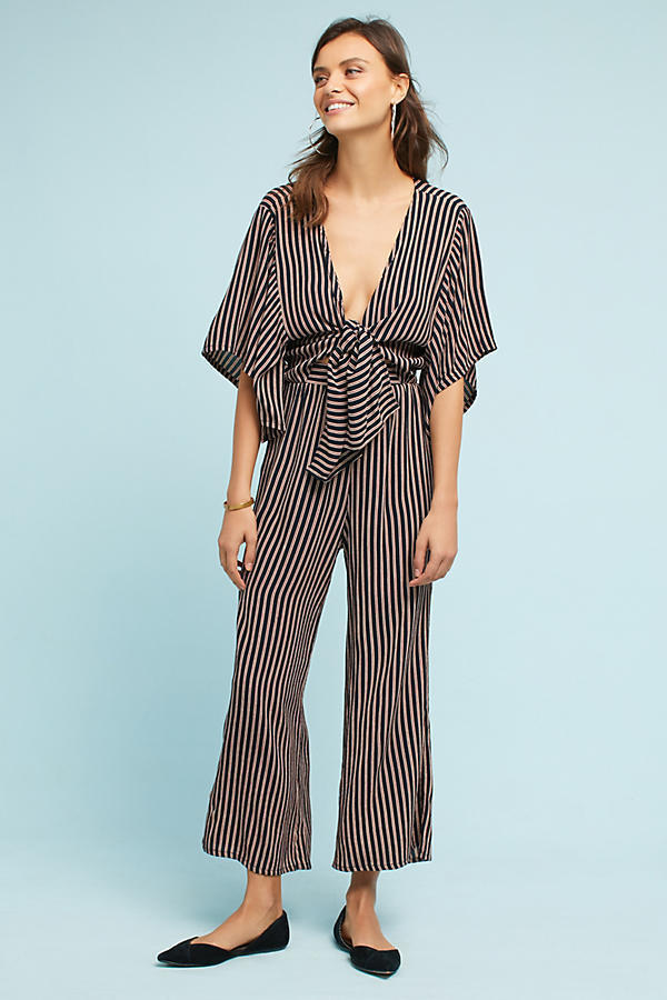 18AW☆最安値*関税送料込【Anthro】Tie-Front Wide-Leg Jumpsuit