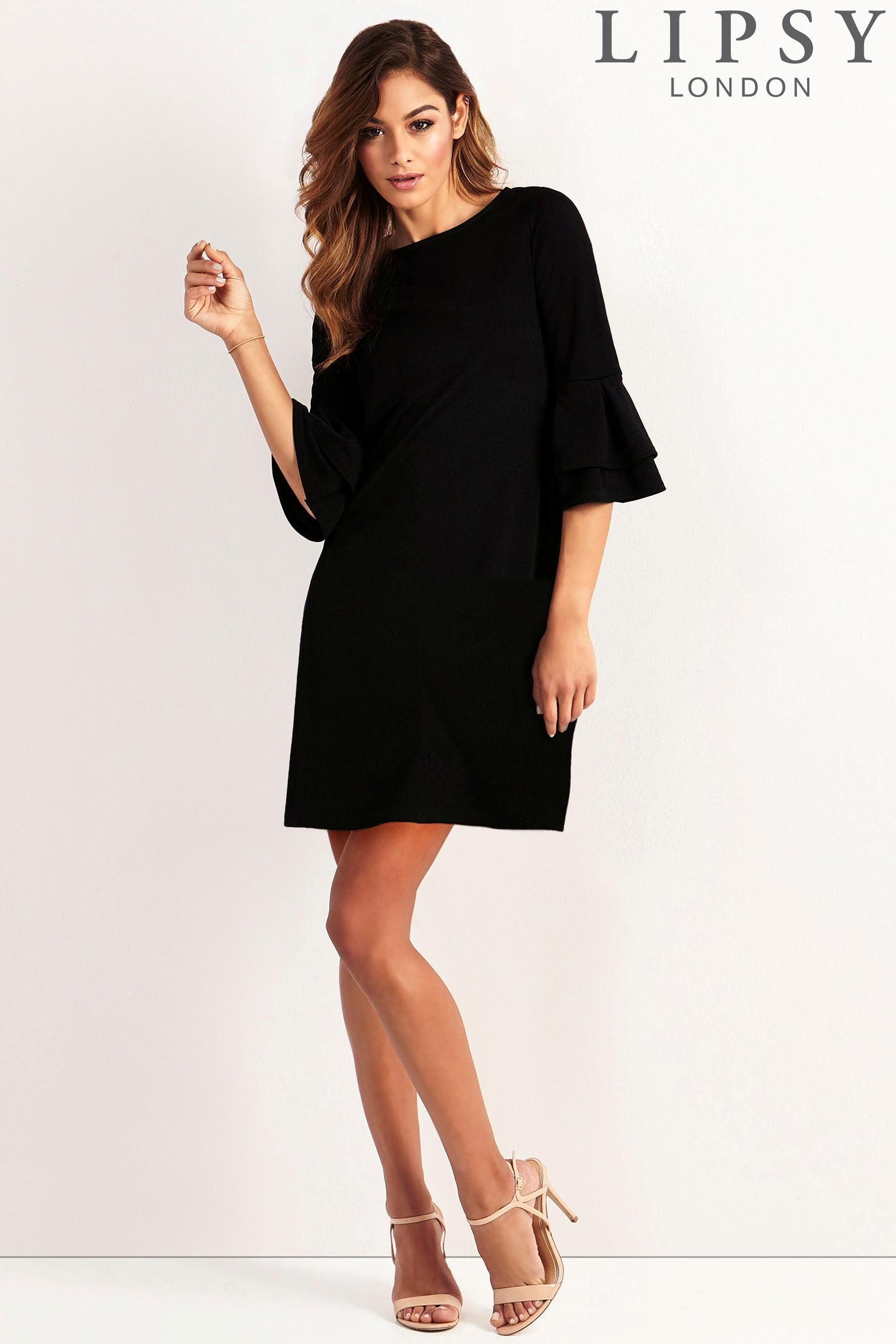 国内発送★税送込★Lipsy☆Black Flute Sleeve Shift Dress☆