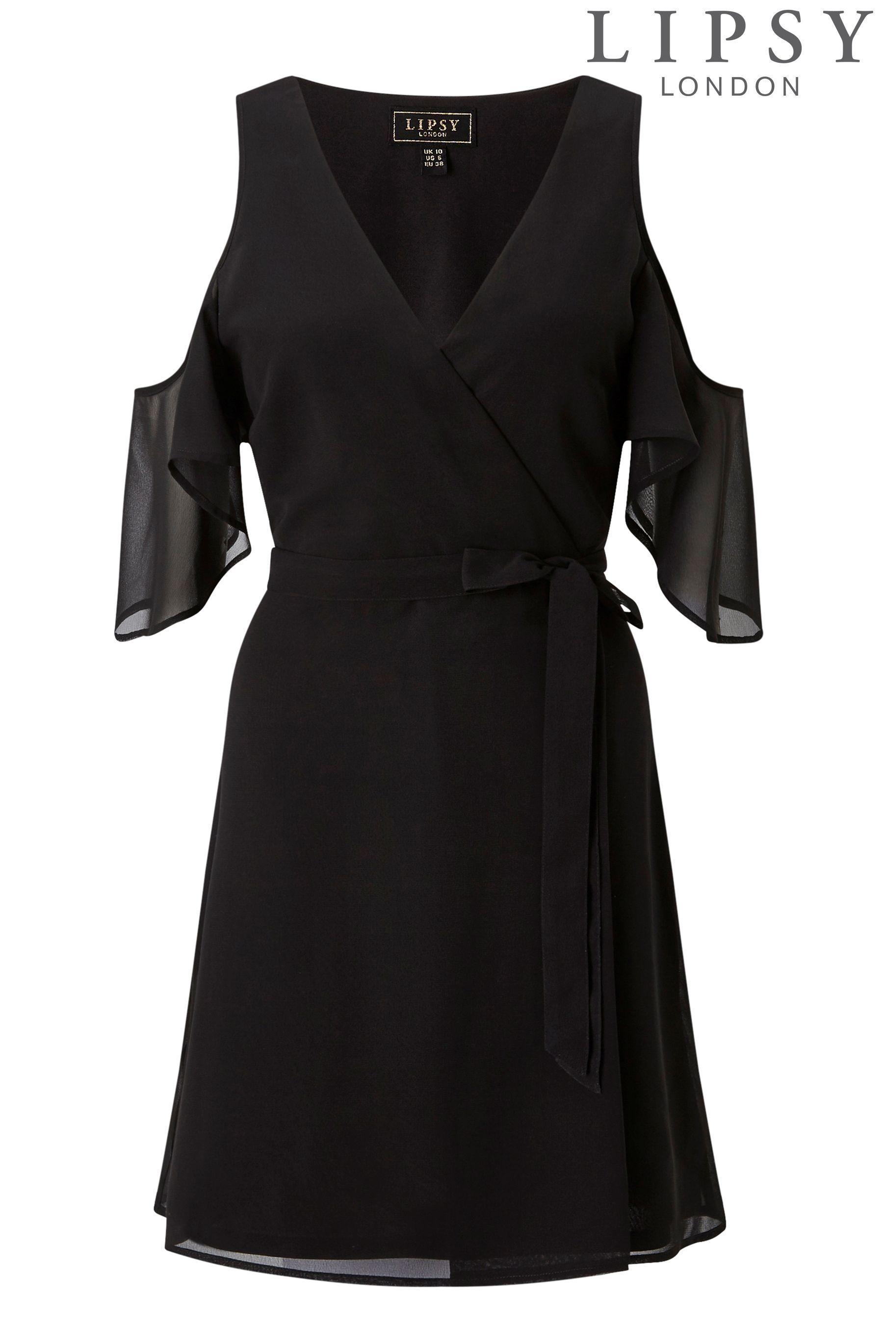 国内発送★税送込★Lipsy☆Black Cold Shoulder Wrap Dress☆