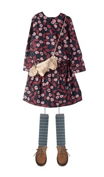 17/18AW【Bonpoint】チェリー柄コットンワンピースDoll♪3-4A