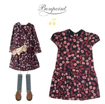 17/18AW【Bonpoint】チェリー柄コットンワンピースDoll♪10-12A