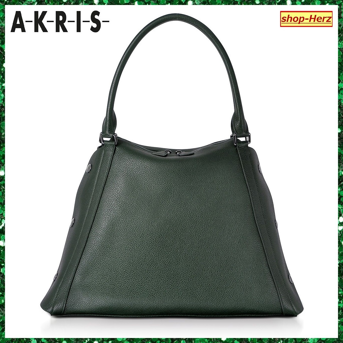 ★AKRIS★ M Aimee Bottle Green 2way トートバッグ 関税込