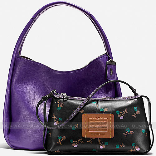 COACH★BANDIT HOBO PEBBLE LEATHER/COLORBLOCK SNAKE 21592