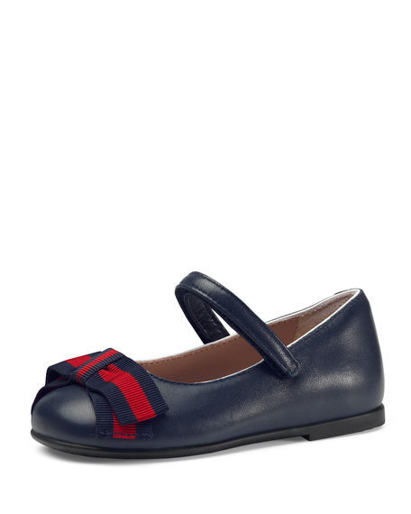 GUCCI ベビーシューズ Leather Ballet Flat Web Bow / Navy