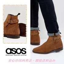 ASOS Chelsea Boots In Tan Suede With Leather Panel And Strap