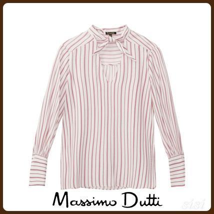 MassimoDutti♪STRIPED SHIRT WITH TIE DETAIL