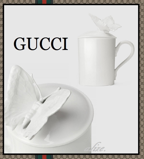 【17-18AW最新作!!】Gucci Decor★Butterfly ホワイトマグカップ