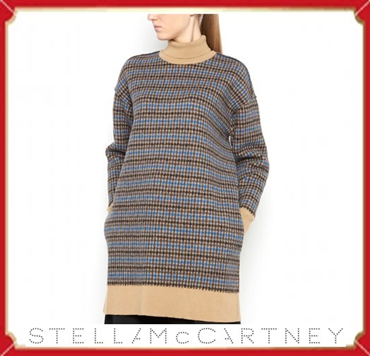 Stella McCartney ABITO M/LUNGA COLLO ALTO FELTED CHECK