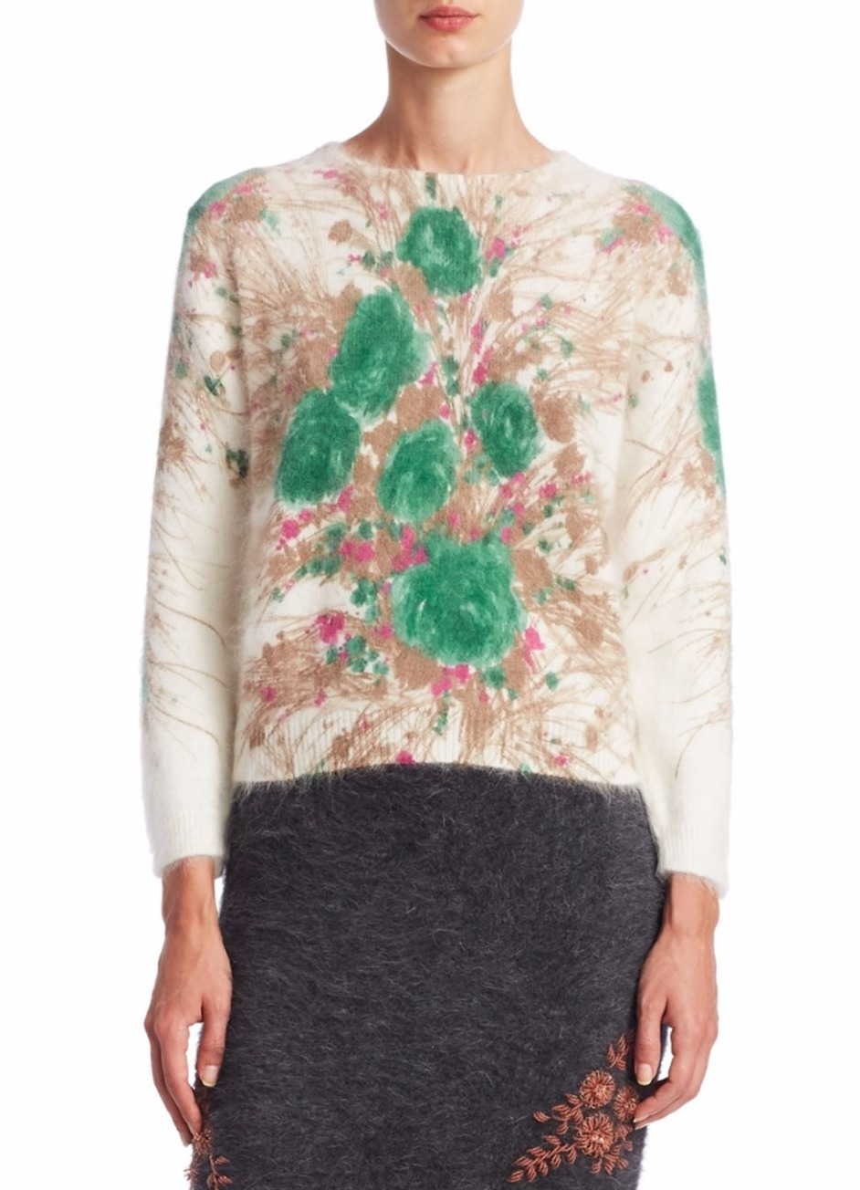 PR781 FLORAL PRINTED ANGORA BLEND SWEATER