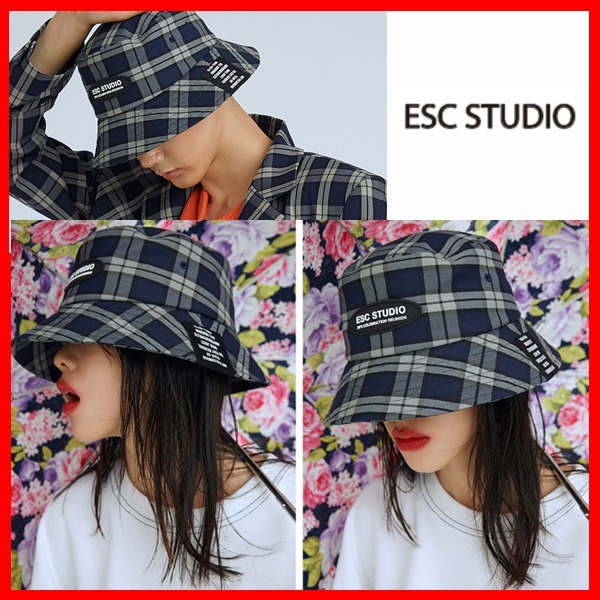 ☆ESC STUDIO☆check bucket hat  男女共用