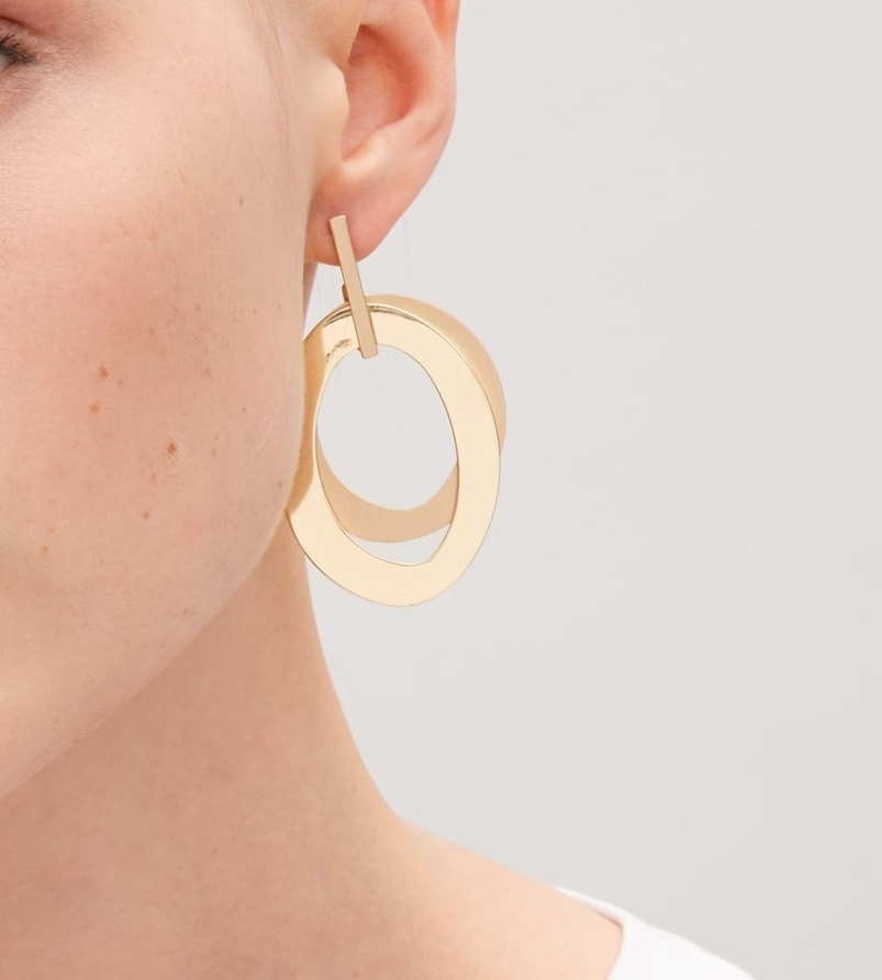 """COS""LAYERED METAL EARRINGS GOLD"