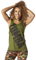◆9月新作◆国内未入荷◆Zumba Burn it Up Loose Tank-Olive You