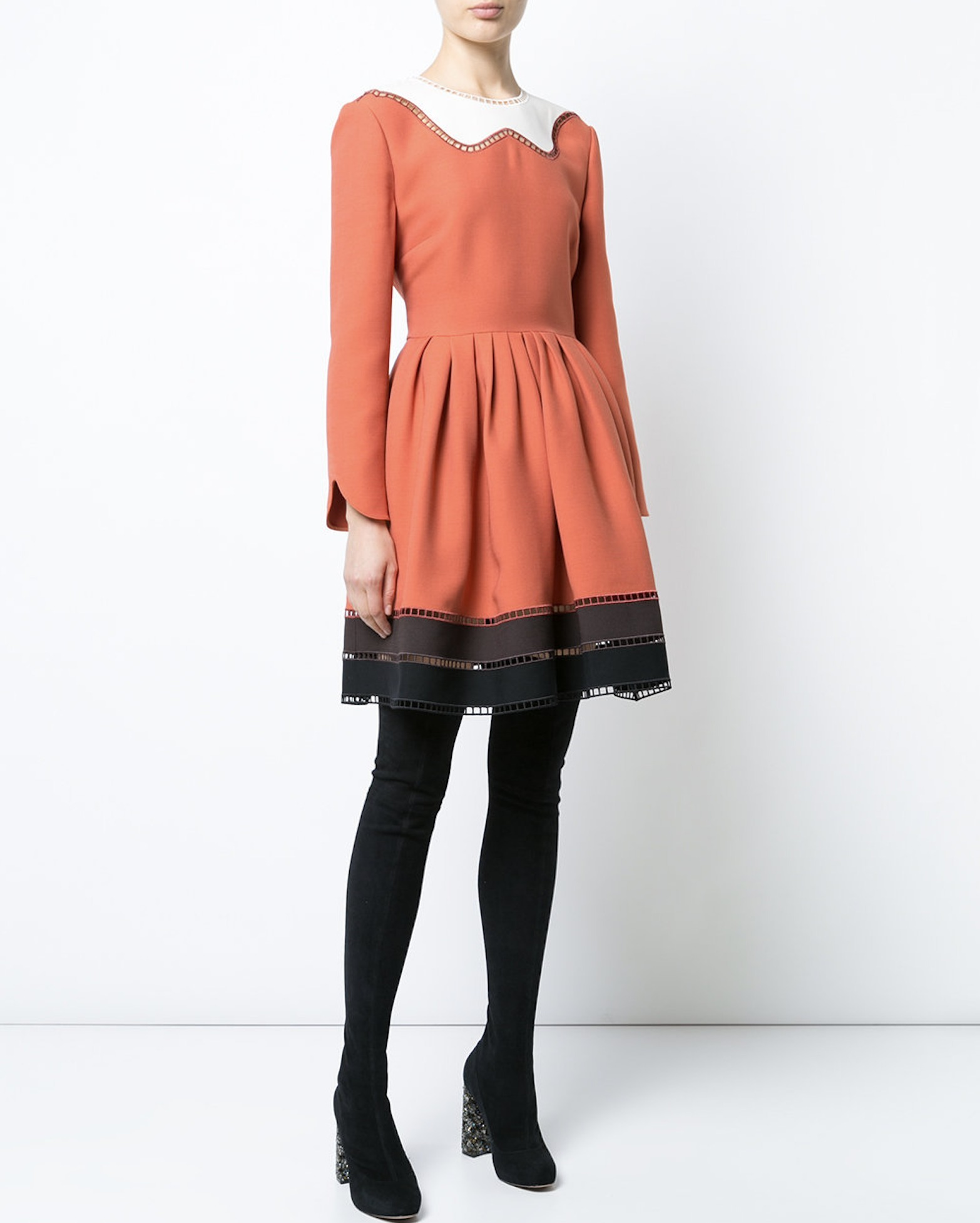 FE1713 LOOK14 WOOL & SILK MINI DRESS WITH CUT-OUT DETAIL
