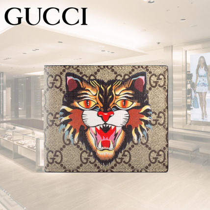 17-18AW★GUCCI★Angry Cat GG Supreme wallet 二つ折り財布