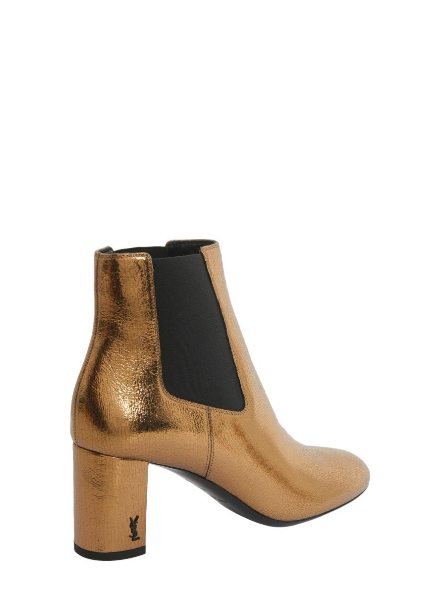 【SAINT LAURENT】 LOULOU ANKLE BOOTS IN METALLIC LEATHER