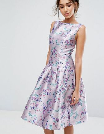 ☆SALE☆Chi Chi London Pleated Midi Dress In Ditsy Floral P.