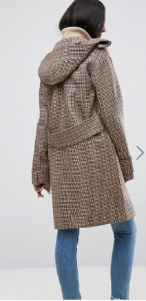 ASOS Tall Hoodedチェックコート with Rib Funnel Neck