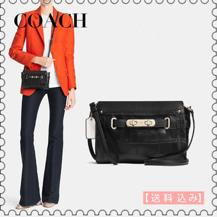 【COACH】Leather Swagger Wristlet Black CrossBody 53108(正規