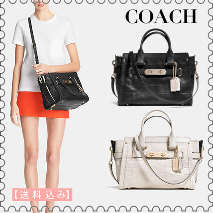 【COACH】swagger carryall in croc embossed leather 34533正規