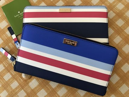 kate spade new york 長財布 即発★Kate Spade★Neda Laurel Way Printed★ストライプ柄