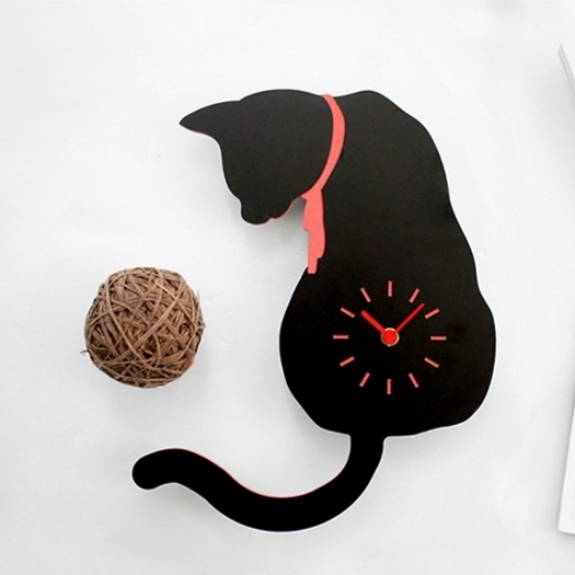 無騒音猫掛け時計 DECO BOARD BLACK CAT WALL CLOCK  2 Types