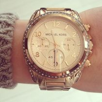 セール☆MK Blair Champagne Dial Rose-Gold クロノ
