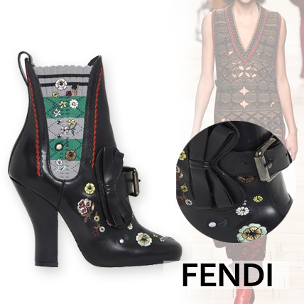 【FENDI】EMBROIDERED LEATHER BOOTIE WITH SIDE ELASTIC BAND