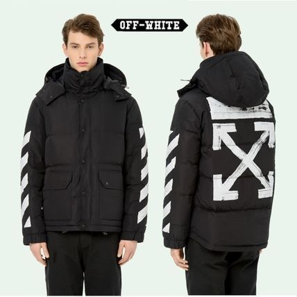 17/18AW【OFF WHITE】DIAG BRUSHED ダウンジャケット ★関税込★
