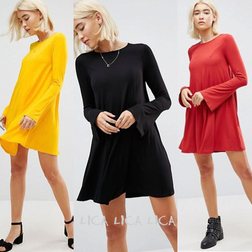 国内発送ASOS Mini Swing Dress with Seam Detail