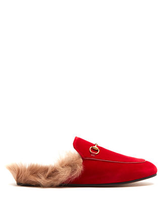 Princetown shearling-lined velvet loafers ベルベットスリッパ