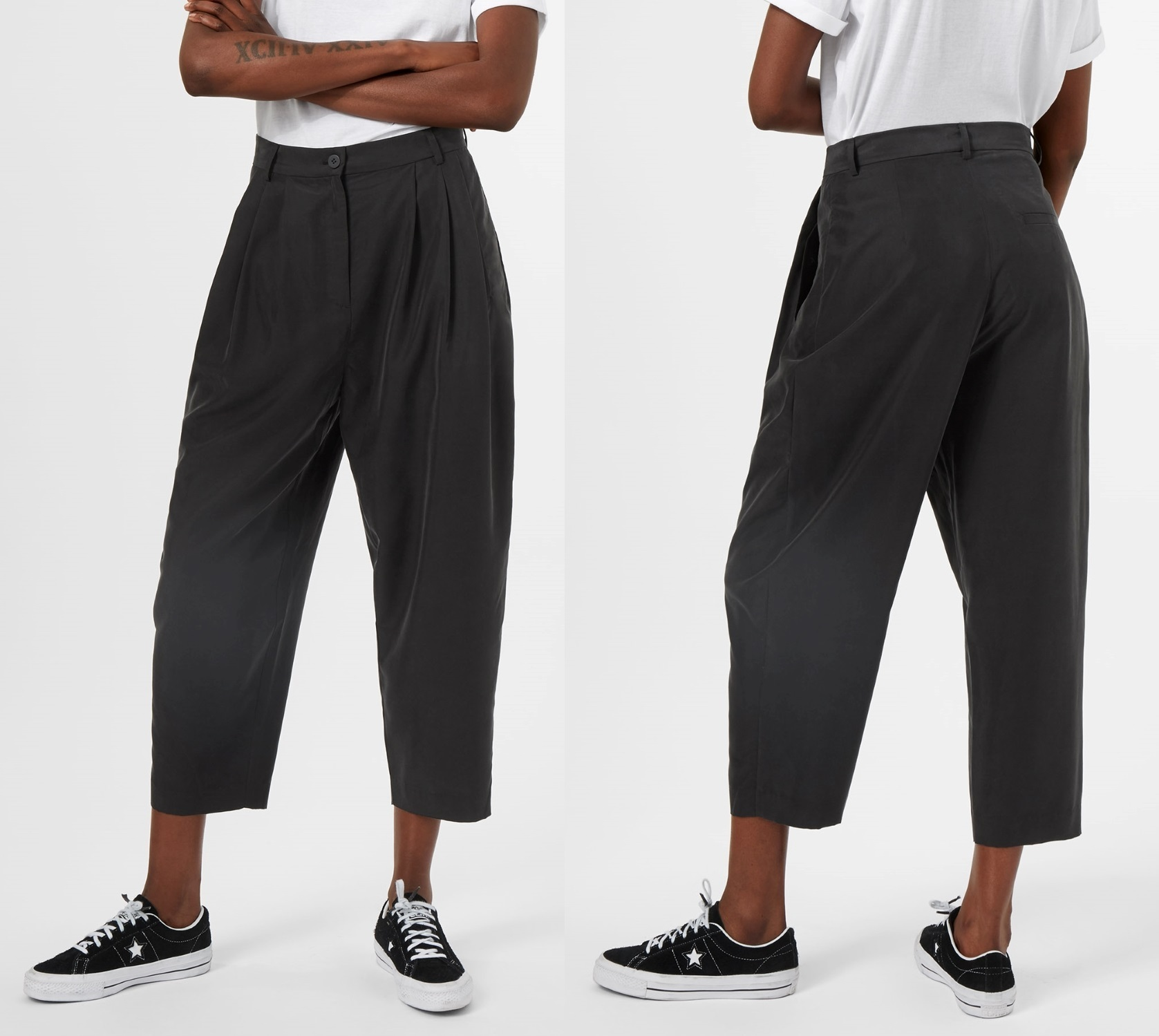 """""""WEEKDAY""""Milly Pleat Trousers Black"""
