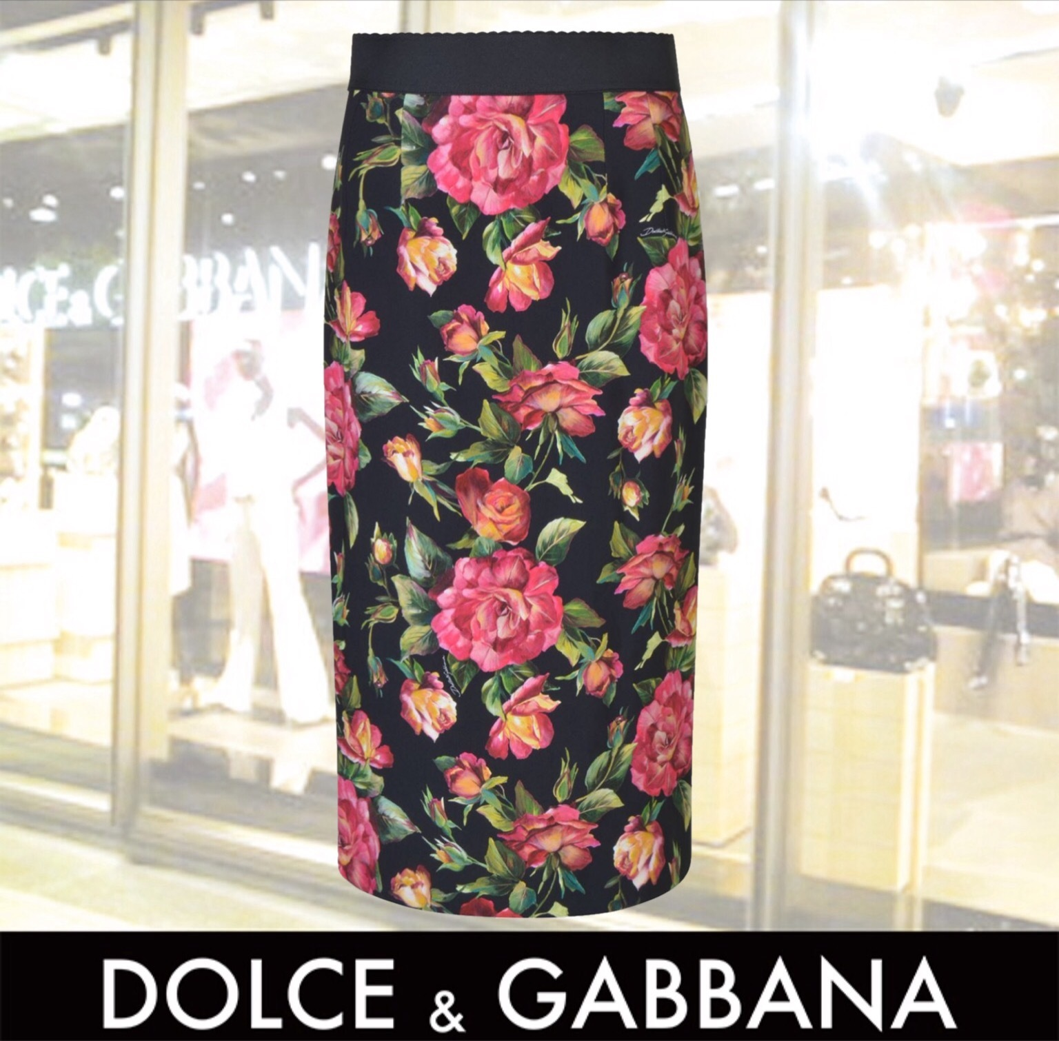 新作DOLCE AND GABBANA ROSE PRINT PENCIL SKIRT 関税送料込