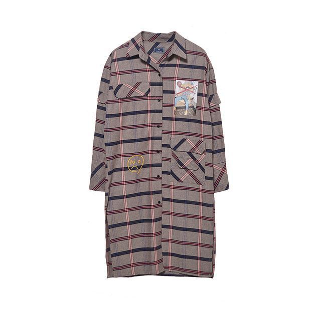 B ABLE TWOのSignature Graphic Check Long Shirts 全2色