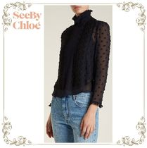 17AW★SEE BY CHLOE★Embroidered crinkle-georgette blouse