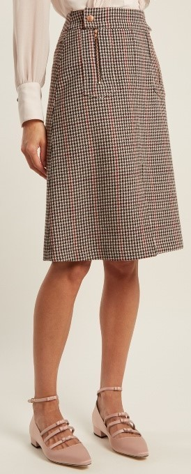 17AW★SEE BY CHLOE★Hound's-tooth wool-blend A-line skirt