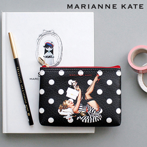 ★Marianne kate★Lucky Dog Pouch(S) black/white dot