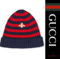 【国内発送】GUCCI 帽子 Bee-embroidered knit beanie
