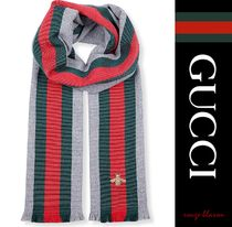 【国内発送】GUCCI スカーフ House Web wool and cashmere scarf