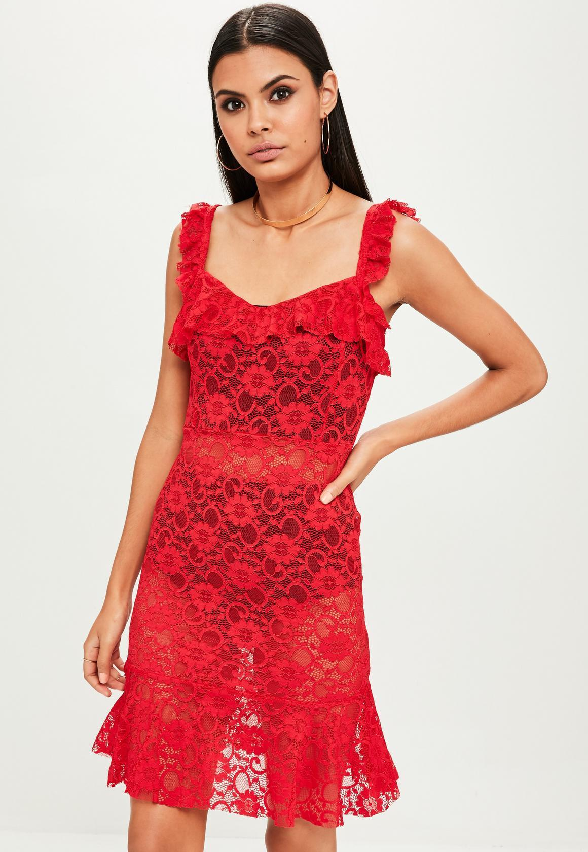 【海外限定】Missguided人気ドレス☆Red Lace Frill Ruched Mini