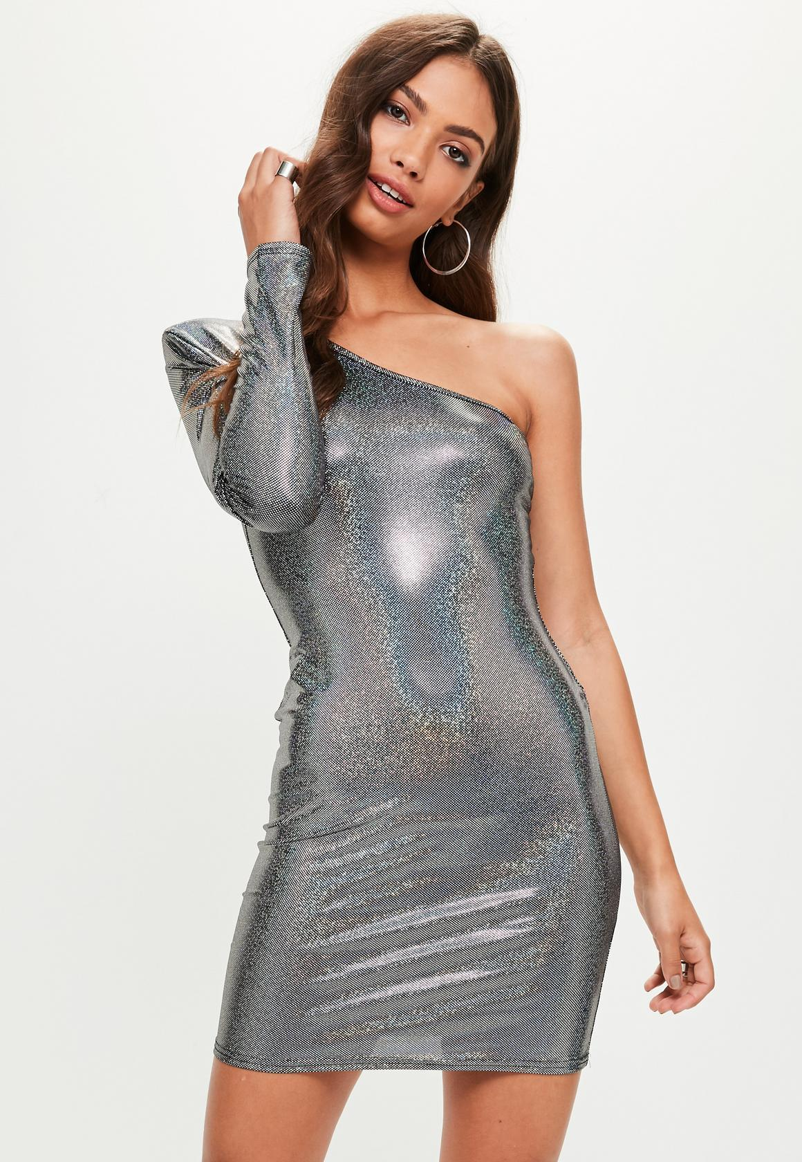 【海外限定】Missguided人気ドレス☆Silver One Shoulder Hologr