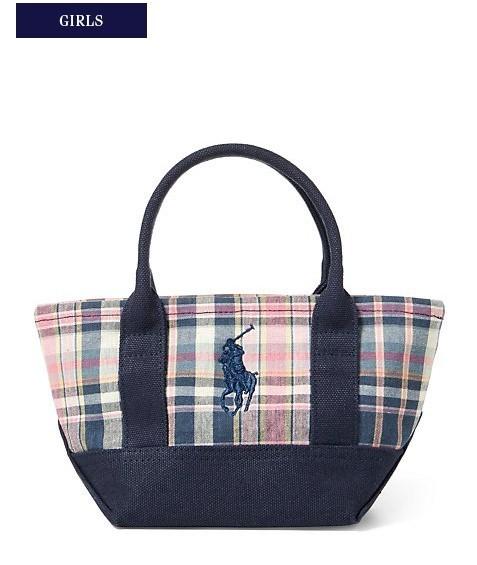 新作♪ 国内発送 大人もOK  COTTON MADRAS MINI RALPH TOTE
