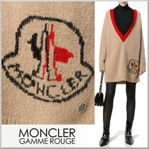 17-18AW★MONCLER GAMME ROUGE ロゴ柄 ディープVネックセーター