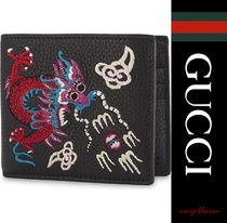 【国内発送】 dragon embroidered leather billfold wallet